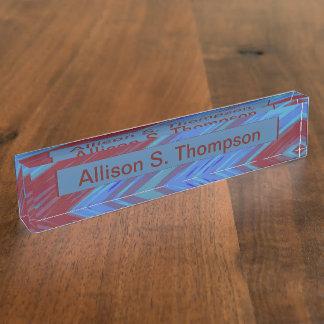 Rotes Blau-FarbSwish Namensplakette