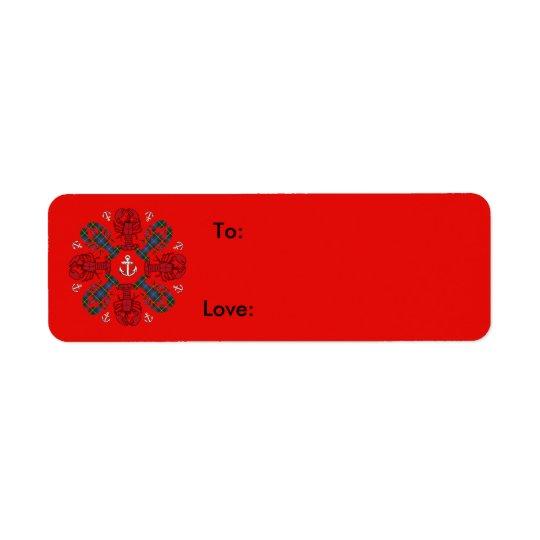 Rotes Blau Hummer-Schneeflocke-Anker N.S. Kleiner Adressaufkleber