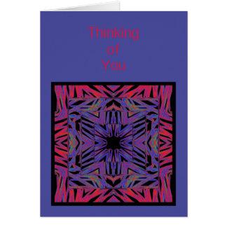 Rotes blaues abstraktes Denken an Sie Karte