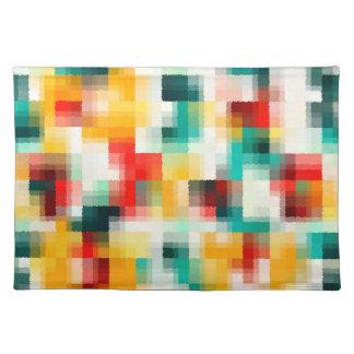 Rotes blaues Grün-Gelb-weißes abstraktes Muster Stofftischset