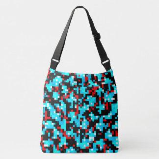 Rotes blaues Schwarz-weißes Pixel-abstraktes Tragetaschen Mit Langen Trägern