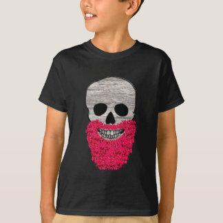 Rotes Blumen-Bart-Hipster-Schädel-Shirt T-Shirt
