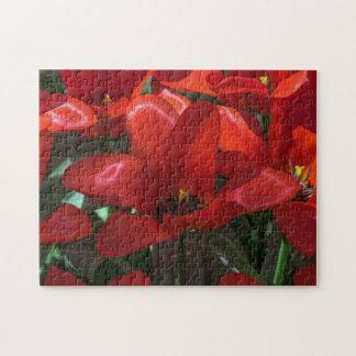 Rotes Blumen-Fotopuzzlespiel Puzzle