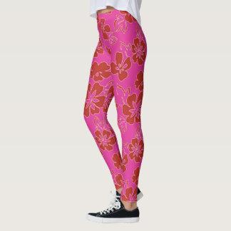 Rotes Blumen-Muster Leggings