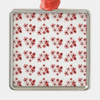 Rotes Blumen-Muster Silbernes Ornament