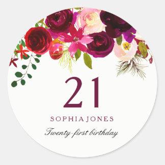 Rotes BlumenBoho 21. Geburtstags-Party Burgunders Runder Aufkleber