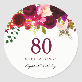 Rotes BlumenBoho 80. Geburtstags-Party Burgunders Runder Aufkleber