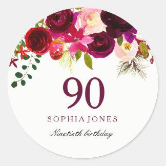 Rotes BlumenBoho 90. Geburtstags-Party Burgunders Runder Aufkleber