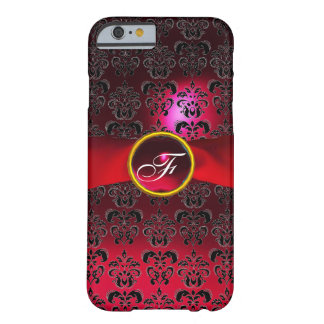 Rotes Burgunder-Band DES DAMAST-GIRLY MONOGRAMMS Barely There iPhone 6 Hülle
