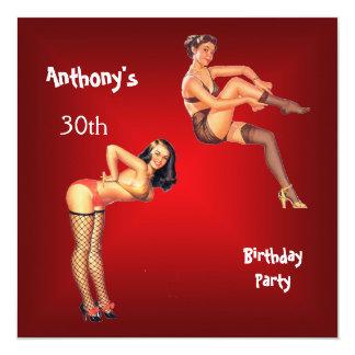 Rotes Button-oben Mädchen-Geburtstags-Party Quadratische 13,3 Cm Einladungskarte