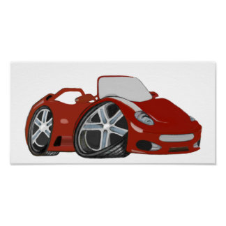 Rotes Cartoon-Sport-Auto-Kunst-Plakat Poster