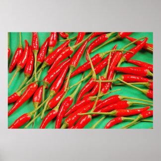 Rotes Chili-Paprikaschoten-Druckplakat Poster