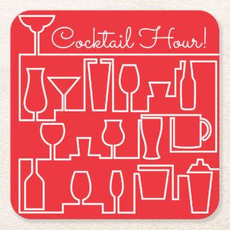 Rotes Cocktail-Party Rechteckiger Pappuntersetzer