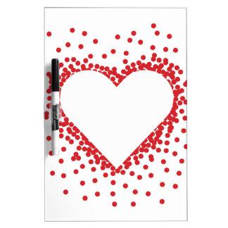 Rotes Confetti-Herz Whiteboard