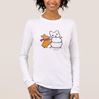 Rotes Corgisnowman-Shirt Langarm T-Shirt