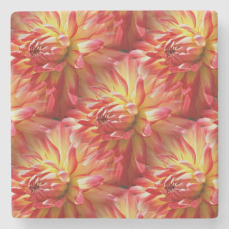 Rotes Dahlie-Blumen-Natur-Kunst-Muster Steinuntersetzer