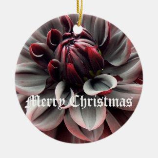 Rotes Dahlie-Doppeltes versah mit Seiten Rundes Keramik Ornament