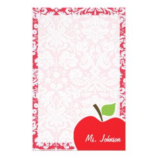 Rotes Damast-Muster; Geschenk für Lehrer Büropapiere