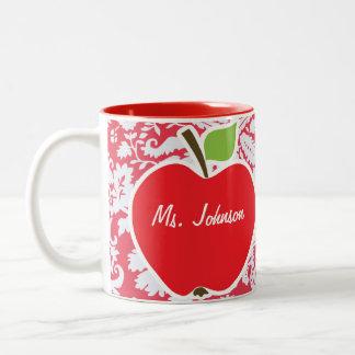 Rotes Damast-Muster; Geschenk für Lehrer Teehaferl