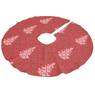 Rotes Damast-Weihnachtsbaum-Muster Leinenimitat Weihnachtsbaumdecke