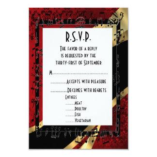 Rotes Damastschwarzes und Gold formales wedding 8,9 X 12,7 Cm Einladungskarte