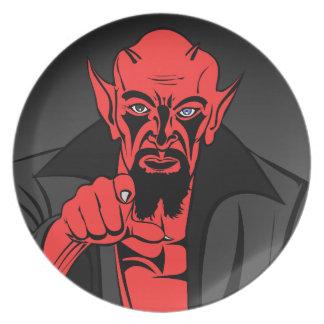 Rotes Dämonzeigen Melaminteller