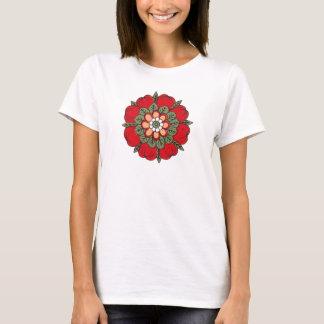 Rotes dekoratives chinesisches Blumen-Shirt T-Shirt