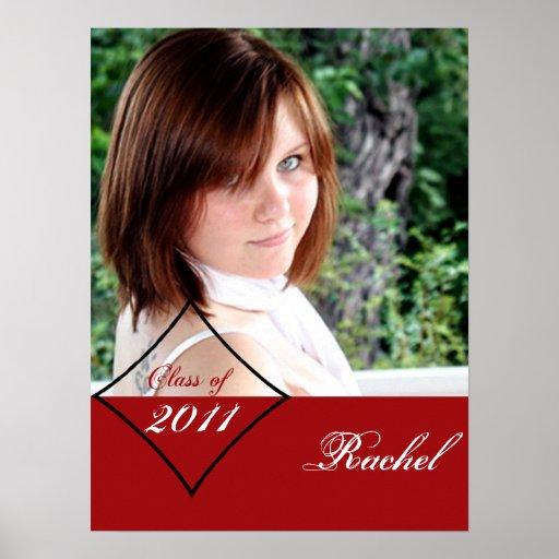 Rotes Diamant-Klassen-Abschluss-Plakat