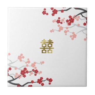 Rotes doppeltes Glück-chinesische Hochzeits-Fliese Fliese