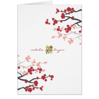 Rotes doppeltes Glück-chinesische Hochzeits-Karte Karte