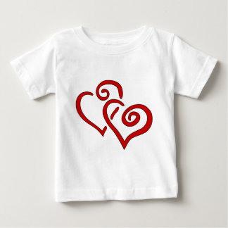 Rotes doppeltes Herz Baby T-shirt