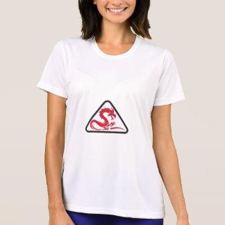 Rotes Drache-Silhouette-Dreieck Retro T-Shirt