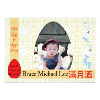 Rotes Ei-und Ingwer-einmonatiges Baby-Jungen-Party 12,7 X 17,8 Cm Einladungskarte