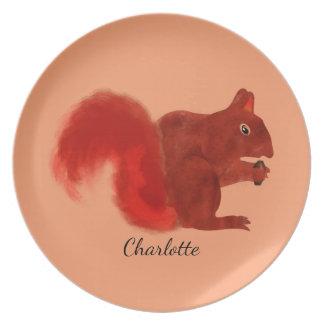 Rotes Eichhörnchen-niedliches Waldtier Teller