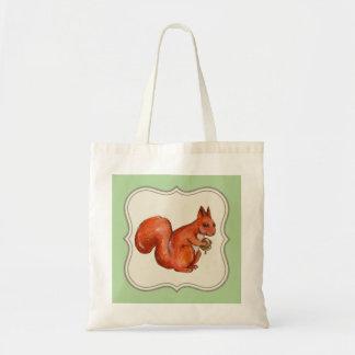 rotes Eichhörnchen, welches die Tragetasche
