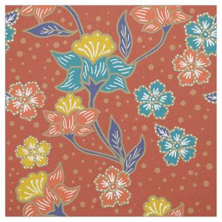 Rotes exotisches indonesisches Blumenbatikmuster Stoff