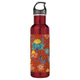 Rotes exotisches indonesisches Blumenbatikmuster Trinkflasche