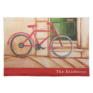 Rotes Fahrrad-Stoff-Tischset Stofftischset
