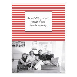 Rotes festliches Streifen-Feiertags-Foto Postkarte