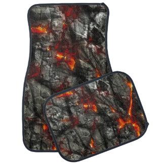 Rotes Feuer, schwarze fantastische abstrakte Autofußmatte