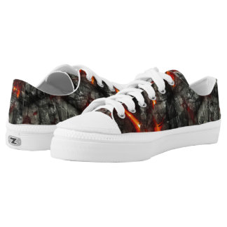 Rotes Feuer, schwarze fantastische abstrakte Niedrig-geschnittene Sneaker