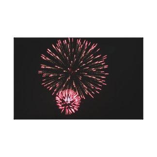 Rotes Feuerwerk Leinwanddruck