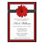 Rotes Gänseblümchen-Schwarz-Polka-Punkt-Brautparty Individuelle Einladungen