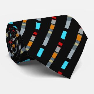 Rotes gelbes blaues silbernes Mehrfarbenmuster Bedruckte Krawatte