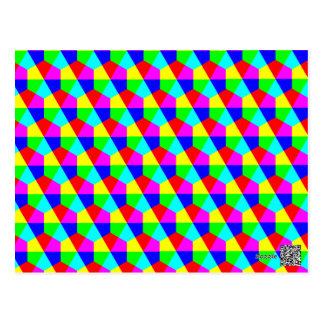 Rotes gelbes grün-blaues Rosa der geometrischen Postkarte