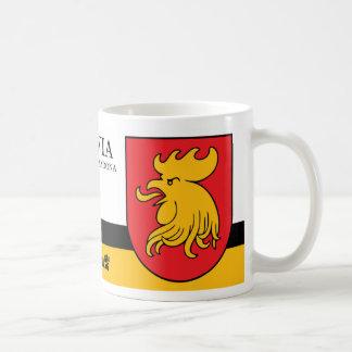 Rotes gelbes Hahn-Schild von Madona Lettland Kaffeetasse
