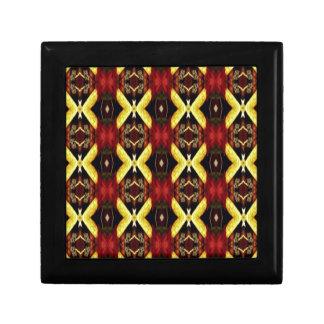 Rotes gelbes schwarzes modernes Gitter-Muster Geschenkbox
