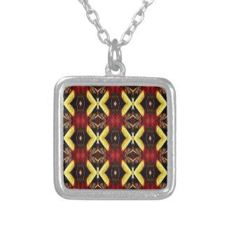 Rotes gelbes schwarzes modernes Gitter-Muster Versilberte Kette