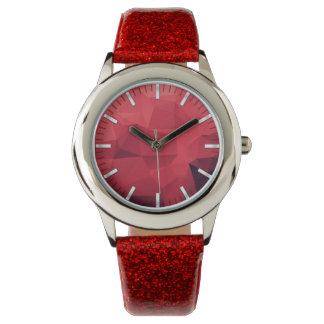 Rotes geometrisches Muster mit Stunden Armbanduhr