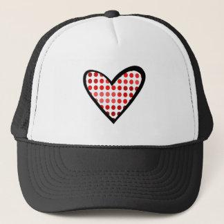 Rotes gepunktetes Herz Truckerkappe